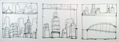 Cityscape (wire drawing triptych)