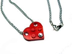 Heart Necklace made from Lego Heart Pieces and by MoLGifts on Etsy, $11.95