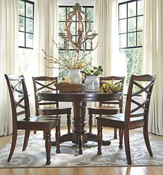 in by Ashley Furniture in Lakewood, WA - Porter - Rustic Brown Dining Room Table Dining Chair Set, Dining Room Chairs, Table And Chairs, Side Chairs, Tables, Lombok, Round Dining Table Modern, Rustic Chair, Dining Room Design