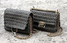Khaki crochet flap bag with shoulder chain Khaki crochet Crochet Clutch, Crochet Handbags, Crochet Purses, Beaded Purses, Beaded Bags, Leather Bags Handmade, Handmade Bags, Diy Bag Making, Tshirt Garn