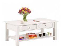 Inga Sofabord hvid lakeret fyrretræ - 110x60   - Inga sofabordet har et meget klassisk og elegant design, der passer perfekt til den enkle indretning i boligen. Sofabordet er lavet af fyrretræ som herefter er lakeret hvidt. Sofabordet har en hylde nederst samt to skuffer med plads til småopbevaring.