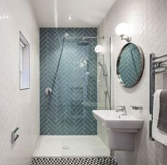 Small bathroom tiles - light tiles will make your bathroom look bigger - Badgestaltung mit Fliesen - Badezimmer Small Bathroom Tiles, Bathroom Wall, Bathroom Interior, Bathroom Ideas, Shower Ideas, Quirky Bathroom, Small Bathrooms, Bathroom Designs, Bathroom Cabinets