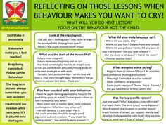 Reflect on behaviour in lessons - Proforma to help you reflect behaviour when lessons did not meet your standards. Originally made to help our School Direct trainees plan what they will do - but useful for everyone.