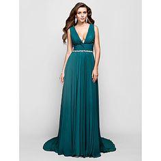 Vestido - Espalda Abierta - Corte A/Corte Princesa - Escote en V - Barrer / cepillo tren – USD $ 119.99