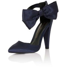 **Little Mistress Navy Satin Bow Heels featuring polyvore, women's fashion, shoes, pumps, blue, little mistress, navy blue shoes, navy pumps, blue pumps and blue shoes