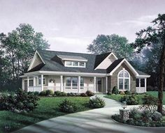 Elevation of Bungalow   Country   Craftsman   Ranch   House Plan 87811