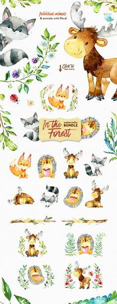 Watercolor Forest Bundle included Animals, Wreaths, Floral Elements, Digital papers, Patterns, Branches, Forest graphic, Leaves, Flowers and more. This set is just what you needed for the perfect invitations, craft & DIY projects, paper products, party decorations, printable, greetings cards, posters, stationery, scrapbooking, stickers, t-shirts, baby clothes, web designs