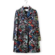Valentino Floral Embroidery Coat (10,900 AED) ❤ liked on Polyvore featuring outerwear, coats, valentino coat and black coat
