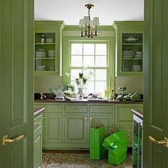Green Cabinets, Eclectic, kitchen, Benjamin Moore Forest Moss, Meg Braff Interiors