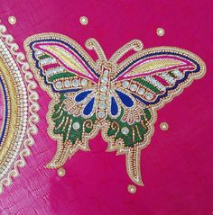 Wedding Saree Blouse Designs, Simple Blouse Designs, Blouse Designs Silk, Designer Blouse Patterns, Aari Embroidery, Hand Embroidery Designs, Maggam Work Designs, Neckline Designs, Butterfly Design