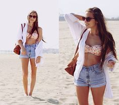 How to rock them at the beach with a swimsuit. Over-sized button up or cardigan.