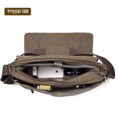 TRP0371 Troop London Classic Canvas Laptop Large Messenger Bag - again don't like plasticcy inside even though design is superb - equal favourite || H32 x W43 x D12 cm
