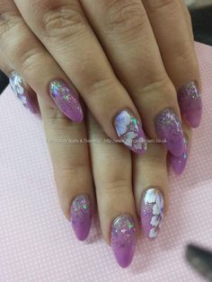 Lilac and glitter acrylic with one stroke flower nail art purple floral