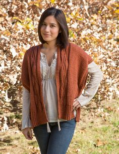 Apple Cider pattern by Deborah Helmke, knit in Classic Elite Yarns Magnolia. This stockinette stitch wrap features a vine pattern on the center back and the fronts.