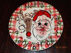 Santa and Reindeer - Footprint and hand print plate
