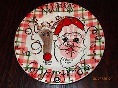 Santa and Reindeer - Footprint and hand print plate