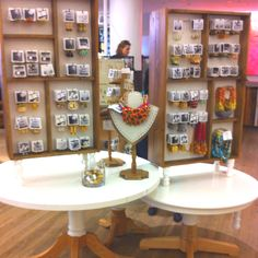 Anthropologie displays  get jewelry cards printed