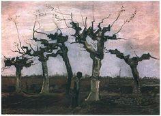 Paisaje con sauces podados  Vincent van Gogh Pinturas, Óleo sobre tela sobre hoja Nuenen: abril, 1884 Colección privada F: 31, JH: 477