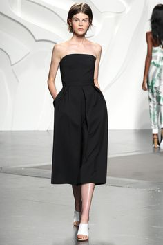 Tibi Spring '14 Runway look #33. The Agathe jumpsuit with a hidden bustier construction and relaxed fitted bottom for an effortlessly chic evening look.