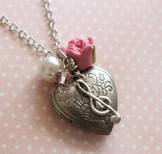 Antique Silver Rose Heart Locket Musical Charm by ALJoyeria