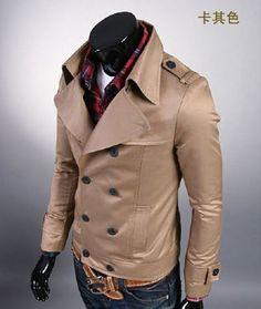 Men's classic fashion double-breasted jacket, slim, (black khaki), large lapel. USD $70.80 (www.tradeage.com)