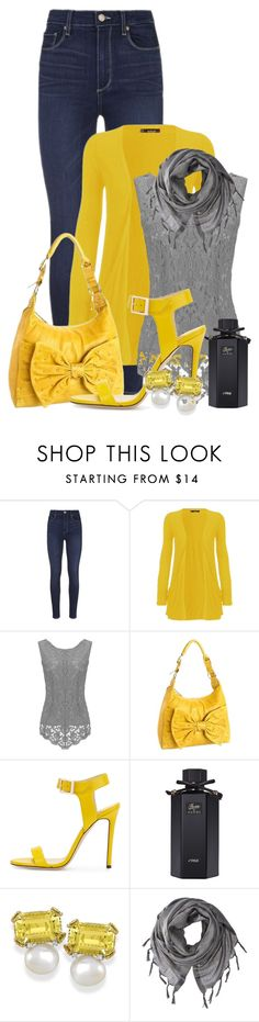 """Sem título #2088"" by carpe-diem96 ❤ liked on Polyvore featuring Paige Denim, WearAll, Sorial, Jimmy Choo, Gucci and Love Quotes Scarves"