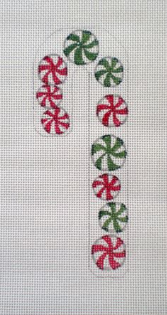 Handpainted Candy Cane Peppermints needlepoint canvas