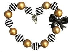 Chunky Bow Necklace- Black & Gold Bow