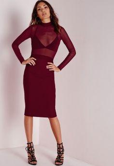 Long Sleeve Mesh Top Midi Dress Burgundy