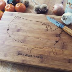 Personalized Cutting Board Custom Engraved Cutting by woodbemine Custom Butcher Block, Butcher Block Wood, Wood Chopping Board, Bamboo Cutting Board, Engagement Presents, State Outline, Personalized Cutting Board, Custom Engraving, Laser Engraving