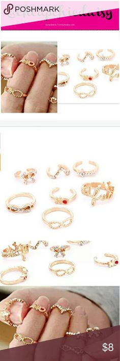 MIDI RINGS, SET OF 7, BRAND NEW IN PACKAGE  SET OF 7 MIDI RINGS, BRAND NEW IN PACKAGE.  GOLDTONE WITH SOME RHINESTONE ACCENTS CAVEAT EMPTOR: THESE ARE COSTUME JEWELRY PRICED AS SUCH YES TO BUNDLES & OFFERS Amazon Jewelry Rings