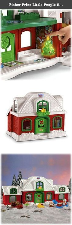 """Fisher Price Little People Santa Claus North Pole Christmas Cottage. Santa's North Pole Cottage opens wide with two whole floors of hands-on fun inside. The Christmas tree delights with six holiday tunes and twinkling lights. Press the kittens in the kitchen for more sounds and surprises! Includes 4 figures and 7 play accessories. Product Weight:6.8 pounds, dimensions (in inches) 28.4x 13.4 x 9.1. Requires 3 """"AA"""" batteries."""