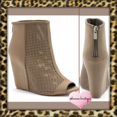 """HPJuicy Perforated Peep-Toe Hidden Wedge Boots HPNWT Juicy Couture light brown perforated peep-toe hidden wedge shooties will lift your look to couture! FEATURES: Hidden wedge, Perforated front, Zipper back, peep toe, padded footbed. Microfiber upper, manmade lining, TPR outsole. 4"""" Heel Please Don't Buy ListingTag Me & I'll Create Your Listing ✅Bundle Discounts✅Reasonable Offers✅Smoke-Free✅❌Trades❌ Juicy Couture Shoes Ankle Boots & Booties"""
