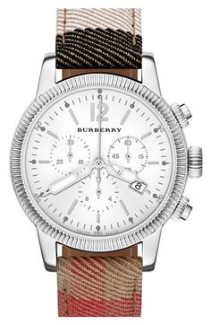 Burberry Chronograph Check Strap Watch, 42mm House Check/ Silver One Size