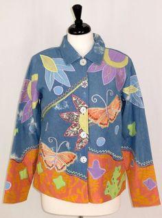 Indigo Moon Jacket Butterflies Flowers Mirror Buttons Blue Womens Size S #IndigoMoon #BasicJacket #Casual