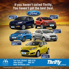 Introducing the #fantastic4 now at #thriftyuae #ford #figo #ecosport #fiesta #escape. Call Now to know more #Dubai 800 4770 or #AbuDhabi 800 701