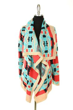 Fall / Autumn / Winter Women's Fashion :: Colorful Aztec Print Cardigan