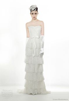 Bridal 2012. Strapless tiered gown with bow at waist. #LusanMandongus #Bridal