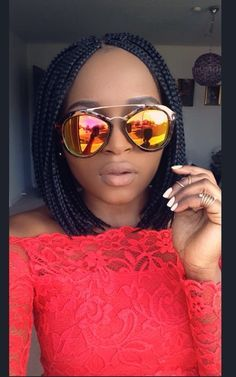 Bob box braids, box braids, bob, red top, off shoulder top, sunglasses, Liberian girls.