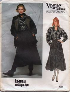 Vogue Designer Sewing  Pattern 1258 Issey Miyake Wrap Skirt Jacket Blouse Sz 10…