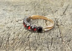 Georgian Old Mine Cut Garnet Antique Ring Unique Engagement Ring Wedding Ring Stacking Ring 15k Yellow Gold & Silver by DiamondAddiction on Etsy
