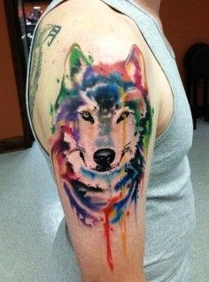 wolf watercolor tattoo on shoulder - animal, head | DIY Watercolor Tattoo