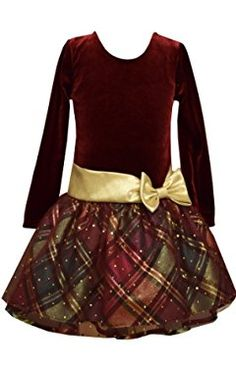 Bonnie Jean Girls Holiday Dress Burgundy Velour Plaid Hipster