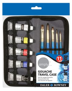 Daler Rowney Simply Gouche Travel Set paints in a travel case + 5 brushes Artist Painting, Watercolour Painting, Discount Art Supplies, Art Shed, Paint Brush Holders, Oil Painting Supplies, Art And Craft Materials, Painted Pots, Online Painting