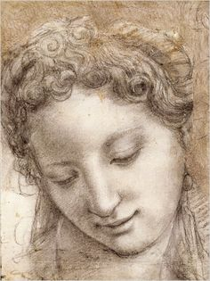 "Bronzino, ""Head of a Smiling Young Woman in Three-Quarter View,"" circa 1542-43. Musée du Louvre, Département des Arts Graphiques  ca. 1542-43  Charcoal and black chalk (with stumping), highlighted with white chalk, on offwhite paper; some outlines stylus-incised   Find the best #Art installations in New York with www.artexperience..."