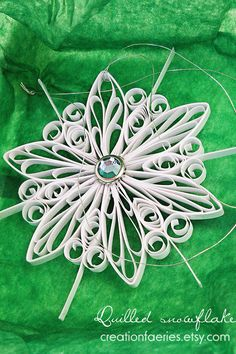 Quilled snowflake - pearly white - with decorated white gift box. $17.00, via Etsy.