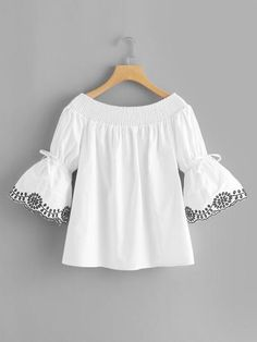 Off Shoulder Fluted Sleeve Embroidered TopFor Women-romwe Dresses Kids Girl, Girl Outfits, Cute Outfits, Hijab Fashion, Girl Fashion, Fashion Dresses, Blouse Styles, Blouse Designs, Blouse Dress