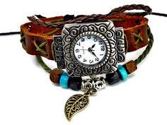 Leather Bracelet Watch, brown, leaf charm, beaded, adjustable