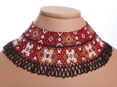 Traditional Ukrainian Folk Handmade Glass Beads Beaded NECKLACE Gerdan: Black /Red /White.
