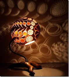 Beautiful And Unique Table Lamps Created Out Of Gourd Fruit